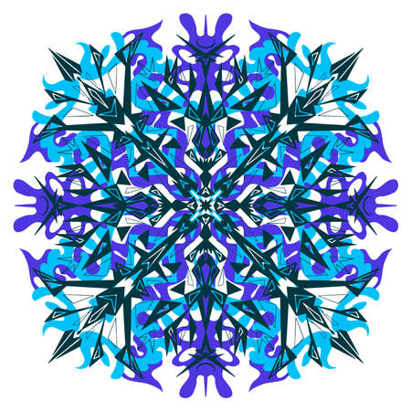 Ornament symmetrical star snowflake flower stained glass isolated on white Ilustrace