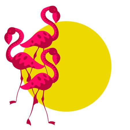 Flamingo and sun with copy space illustration isolated on white