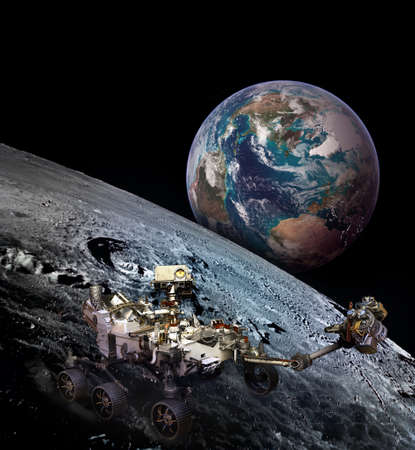 Moon rover on moon surface and planet Earth rising.