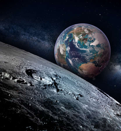 Moon landscape with earth rise on a starry sky