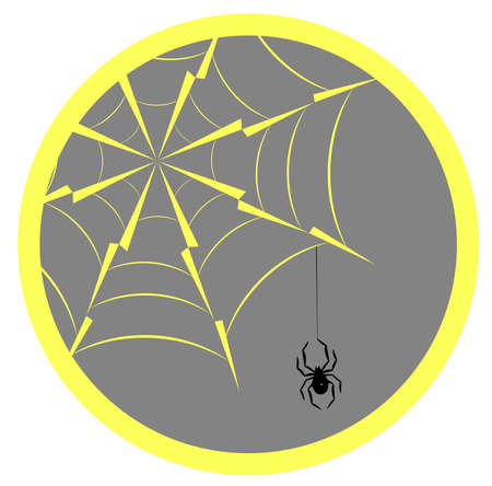 Spider hanging on spider web and sun, silhouette icon  vector illustration. Ilustrace