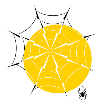 Spider web with hanging spider in the backlight of the sun, silhouette icon  vector illustration.