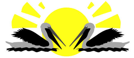 Two pelicans on the background of the sun, abstract  vector illustration with copy space for your text. Save the wild animals. Ilustrace