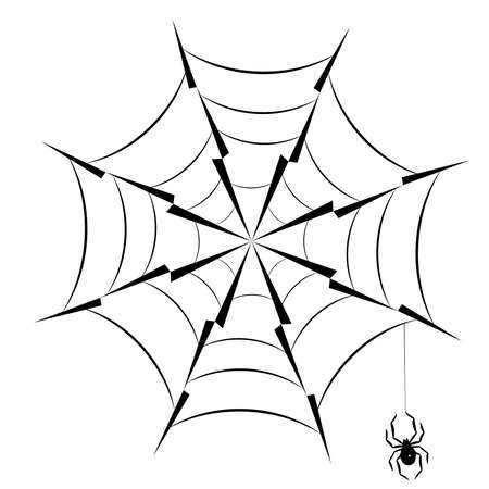 Spider hanging on spider web silhouette icon  vector illustration.