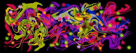 Graffity with abstract bright multycolor pattern layered eps10 vector illustration isolated on black background. Ilustrace