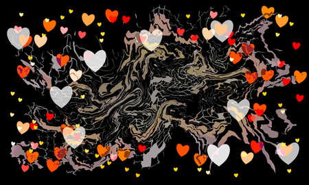 St Valentines day dark graffity background with hearts and curves isolated on black background layered eps10 vector illustration.