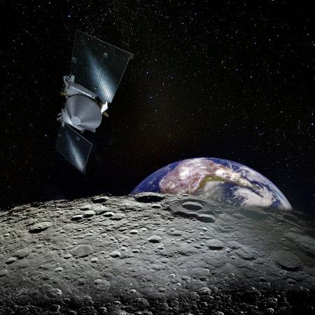 Earth rises above lunar horizon and spaceship.