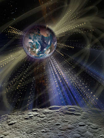 Futuristic shining light around the planet Earth from the surface of the Moon. Sci fi collage