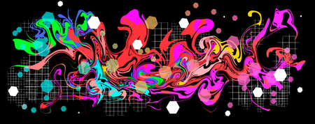 Graffity with abstract bright multycolor pattern layered  vector illustration isolated on black background.