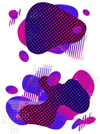 Abstract liquid shape fluid design geometric shapes and line patterns composition set. Modern  vector illustration template isolated on white background in blue and violet colors. Ilustrace