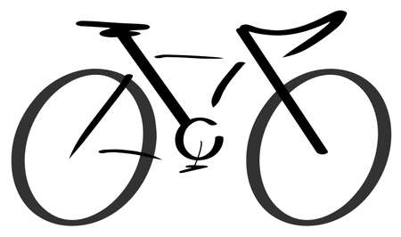 Bicycle stylized modern outline drawing eps10 vector illustration isolated on white background.