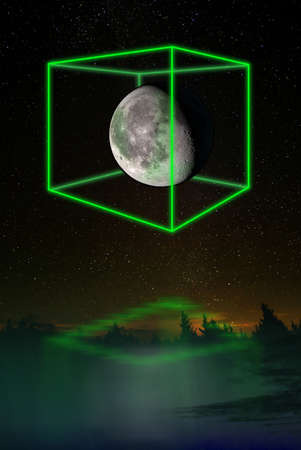 Futuristic light cube around the moon, night additional lighting in the form of neon light. The concept of a technological future