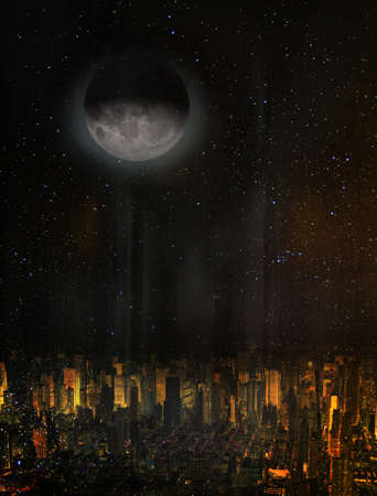 Moon over the city.