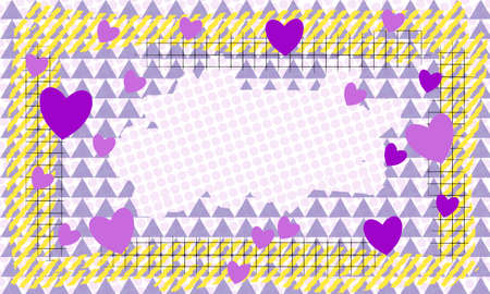 Rectangular frame with a pattern of triangles, lines, hearts and circles with copy space for your text. Template for congratulations card on Valentine's Day. EPS10 vector layered illustration.