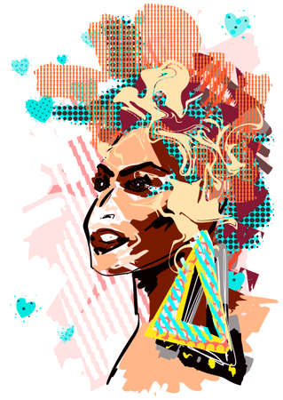Abstract pop art woman portrait wirh bright multicolor patterns layered eps10 vector illustration isolated on white background. Ilustrace