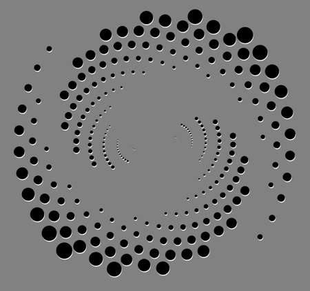Black halftone dots in vortex form. Geometric art. Trendy design element for frame, logo, sign, symbol, web, prints, posters, template, pattern and abstract background with shadow effect papercut.