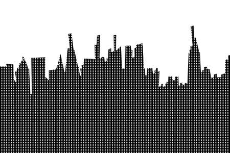 New York city silhouette with windows pattern eps10 vextor black and white illustration.