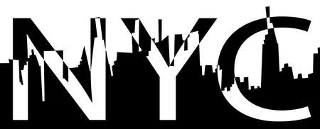 NYC typography slogan for ptint. Text and New York city silhouette eps10 vector black and white illustration.