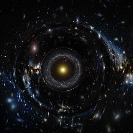 Stars form circle giant black hole, futuristic abstract exploration space concept background.