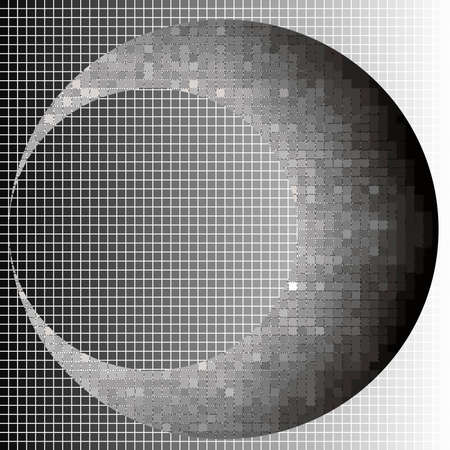 Crescent halftone squares geometric art eps10 vector illustrarion. Background and the moon at different levels.