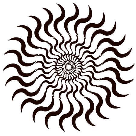 Circle geometric vector. Spiral, vortex, swirl zig zag shape.