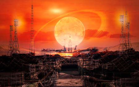 The road to space exploration. Alien techno planet and launch pad at the sunset sky with extraterrestrial sun.