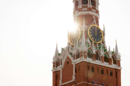 Famous Spasskaya tower in sun light, Russia. Symbol and main landmark of Moscow with copy space.