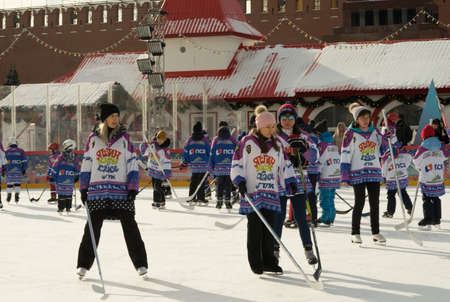 Moscow, Russia - February 20, 2022: World ice hockey champion Alexei Yashin conducts master classes at the GUM-Skating rink at the Red Square for everyone. Free public event. Redakční
