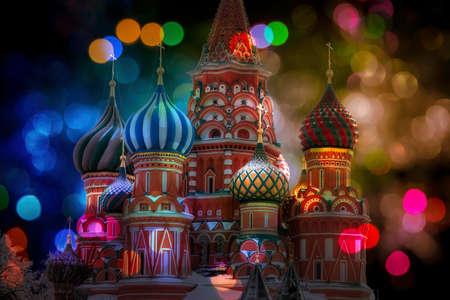 Night St Basil's Cathedral at bokeh colorful lights. Reklamní fotografie