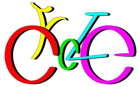 Cycle text lettering bysicle shape, multycolor  vector isolated on white Ilustrace