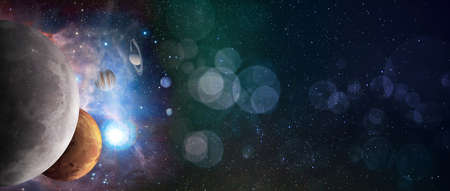 Bokeh background with stars and solar system planets. Sci-fi space exploration collage wirh copy space Reklamní fotografie