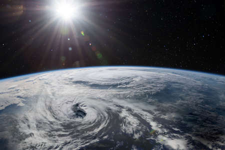 Two super typhoons. Satellite view.