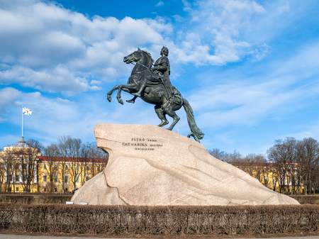 The Bronze Horseman monument to the founder of the city of St. Petersburg, Peter I on the Senate Square in the city of St. Petersburg on a warm, sunny day in early spring in the month of April