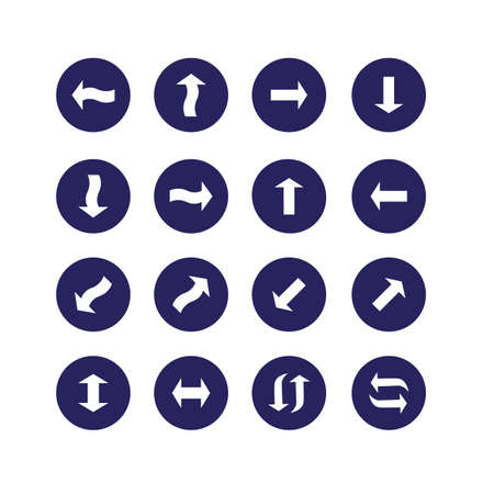 with sets of elements: Set of vector icons. White arrow isolated on a dark blue background. Illustration