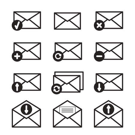 sign simplicity: Email and envelope icons on white background.