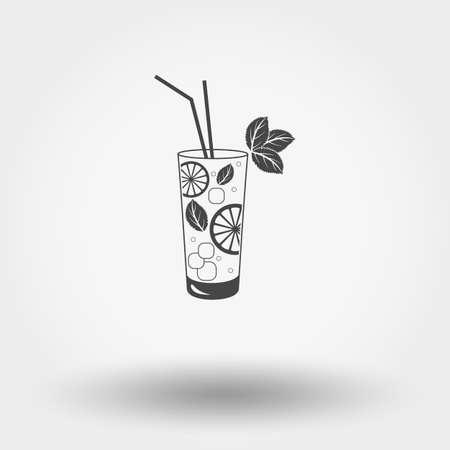 Grey web icon Mojito , vector illustration. Flat design style.