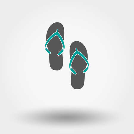 beach slippers: Single flat icon Beach slippers on white background. Vector illustration.
