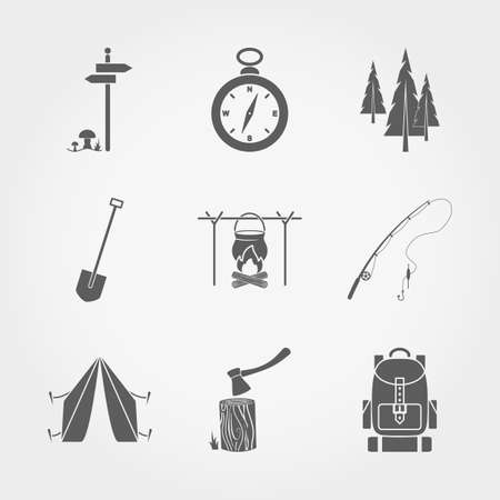 Set of vector icons Camping. Flat design style. Vector