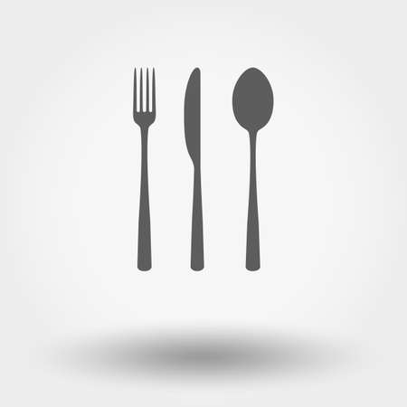 Fork ,spoon and knife. Grey web icon. Vector illustration. Flat design style.