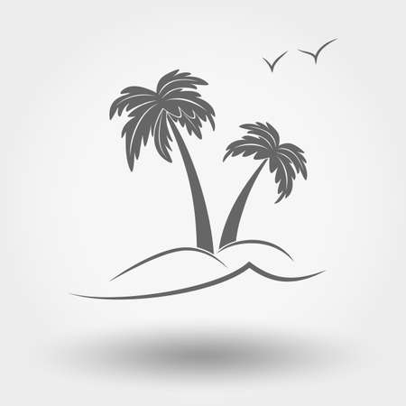 Grey web icon Palm tree. Vector illustration. Flat design style. Illustration