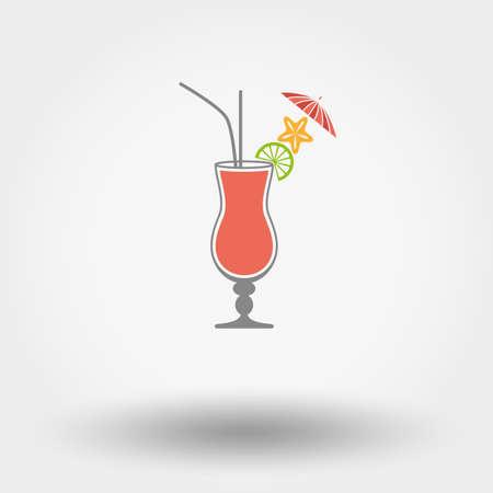 Web pictogram Tropische zomer coctail. Vector illustratie. Platte ontwerpstijl.