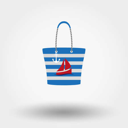 anchored: Colored Beach bag with anchor and ship on a white background. Vector illustration. Flat design style.