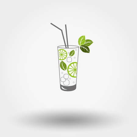 Colored web icon Mojito on a white background. Vector illustration. Flat design style.