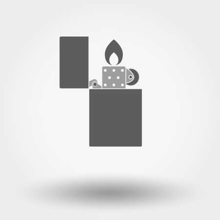 open flame: Grey web icon Cigar Lighter. Vector illustration on a white background. Flat design style.