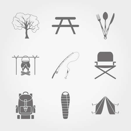 sleeping bag: Set of grey web icon Camping and Fishing. Vector illustration on a white background. Flat design style.