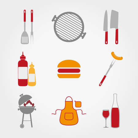 Set of web icon BBQ. Vector illustration on a white background. Flat design style. Vector