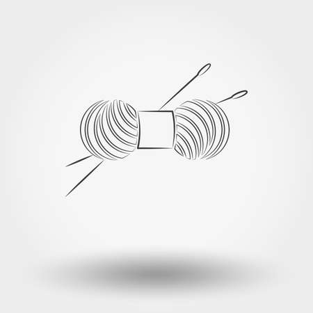 skein: Simple line web icon Skein of yarn for knitting and needles. Vector illustration on a white background. Doodle, cartoon style.