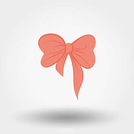 chequered ribbon: Pink bow icon for web and mobile application. Vector illustration on a white background. Doodle, cartoon style.