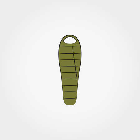 sleeping bag: Sleeping bag  icon for web and mobile application. Vector illustration on a white background. Doodle, cartoon style.