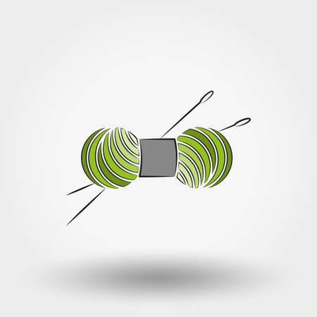 skein: Skein of yarn for knitting and needles. Icon for web and mobile application. Vector illustration on a white background. Doodle, cartoon style.